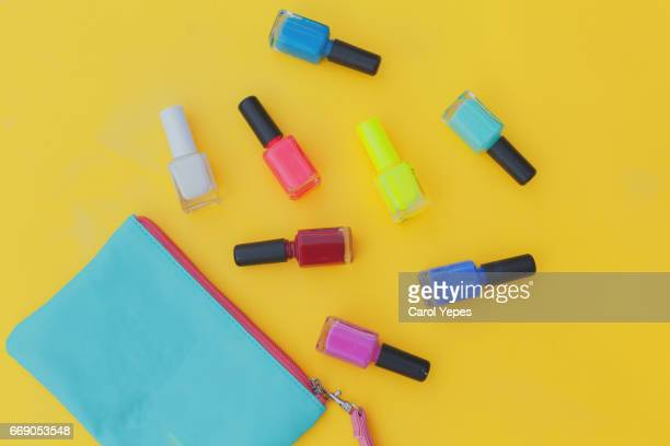 top view nail polish and dressing case
