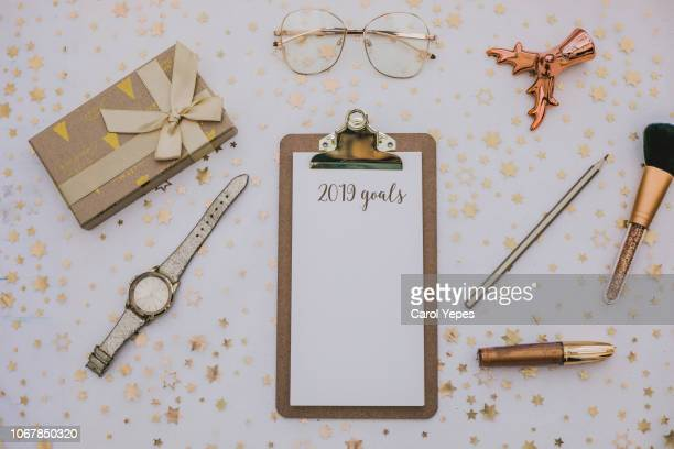 top view notebook with 2019 wishlist - 2019 calendar background stock pictures, royalty-free photos & images