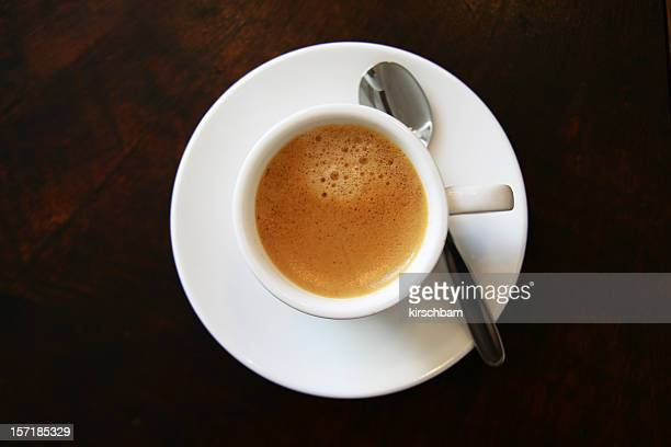 Top view of a cup of espresso on a saucer