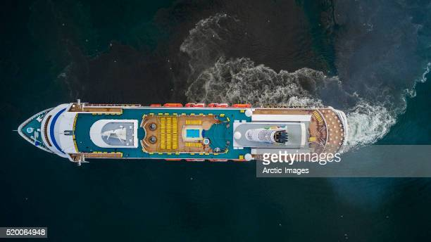 Top view of a large cruise ship.