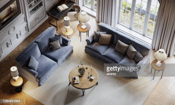 top view of a luxurious living room in a large house by the sea - geographical locations stock pictures, royalty-free photos & images