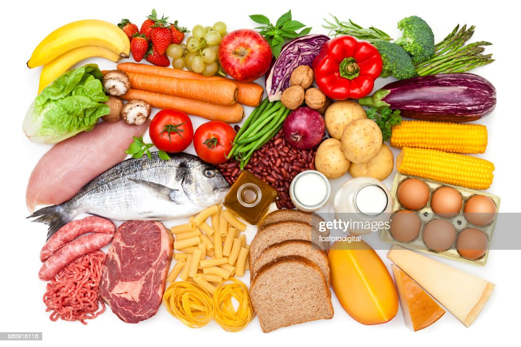 Top view of a table filled with different types of food : Stock Photo