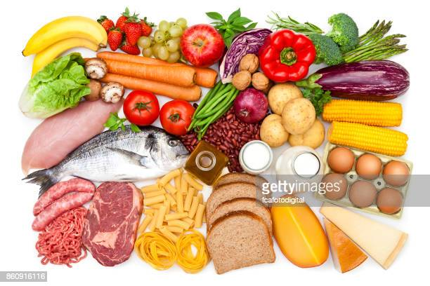 top view of a table filled with different types of food - food and drink stock pictures, royalty-free photos & images