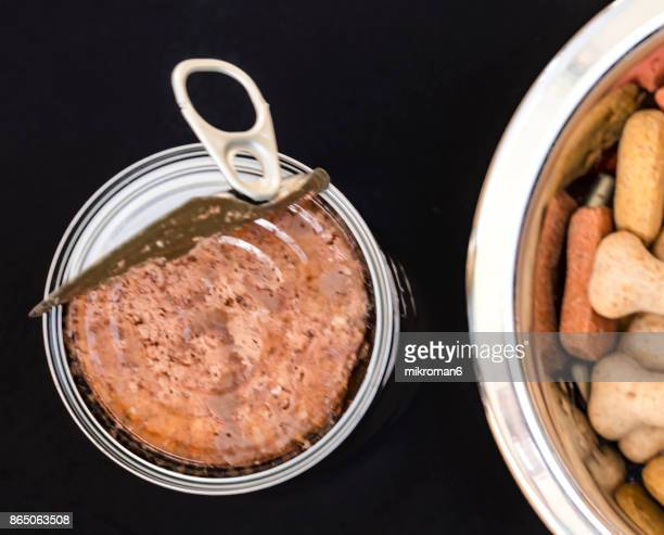 Top view of an opened can of dog food and Dried pet food in bowl