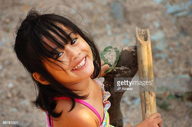 top view of asian girl smiling to the camera - philippines stock pictures, royalty-free photos & images