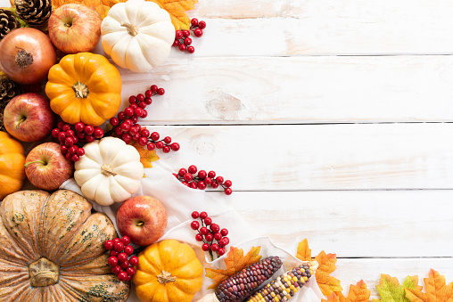 Top view of  Autumn maple leaves with Pumpkin and red berries on white wooden background. Thanksgiving day concept. 1071198102