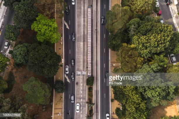 top view of avenida nove de julho in sao paulo city, brazil - avenue stock pictures, royalty-free photos & images