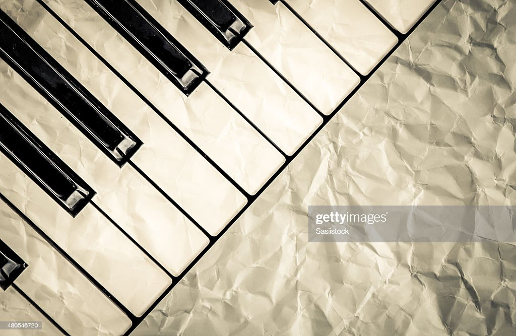 top view of black and white piano keys : Stock Photo
