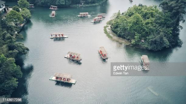 sizhuan 湖のボートの上面図 - 四川省 ストックフォトと画像