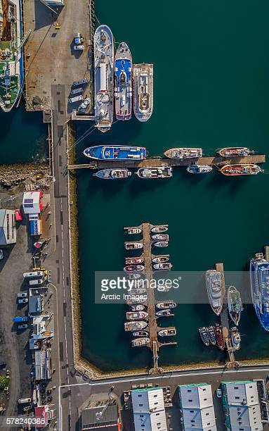 Top view of boats, Reykjavik Harbor, Iceland