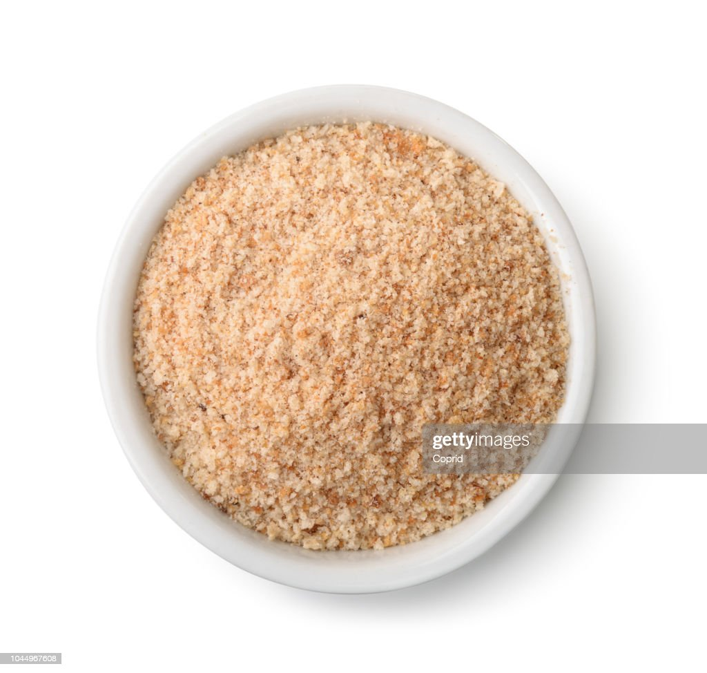Top view of bowl full of breadcrumbs : Stock Photo