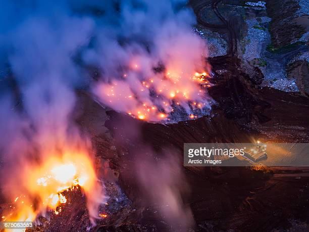 Top view of burning garbage