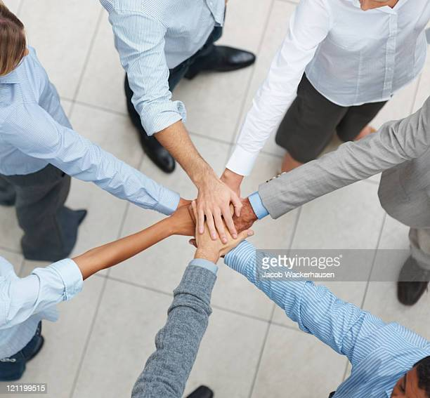 Top view of business executives walking on tiled floor