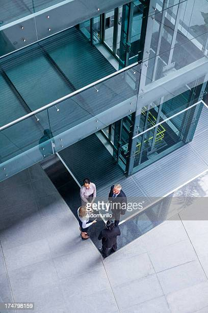 Top view of business people talking