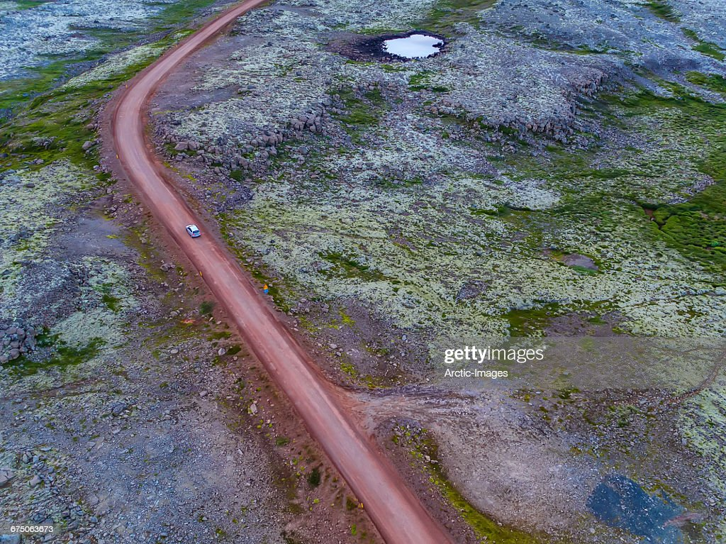 Top view of car on gravel road, Iceland : Stock Photo