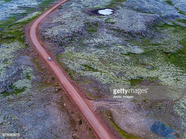 Top view of car on gravel road, Iceland