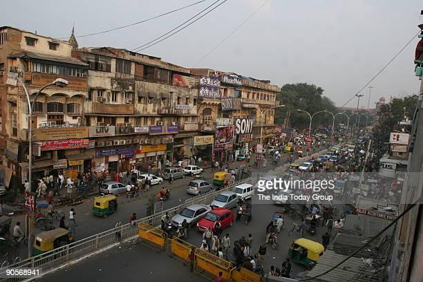 A top view of Chandni Chowk New Delhi