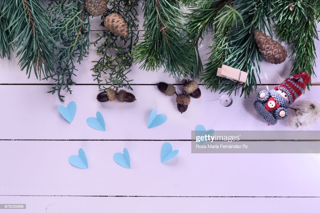 Top View Of Christmas Decorations Elf Heart Shape Acorn Pine Cone