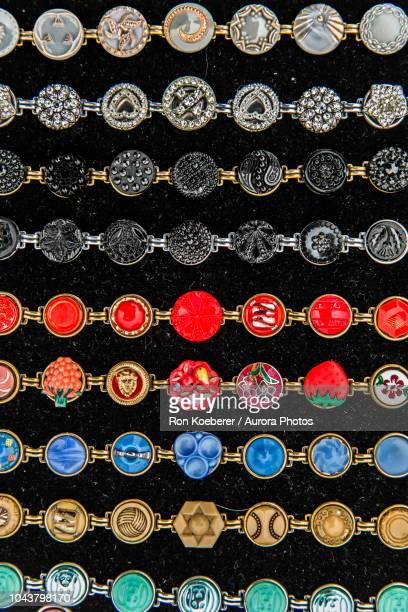 top view of colorful bracelets - koeberer stock photos and pictures