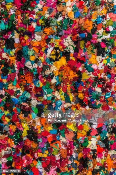 top view of colorful shag rug - koeberer stock photos and pictures