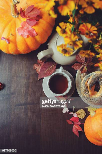 top view of cozy autumn breakfast on table in country house.