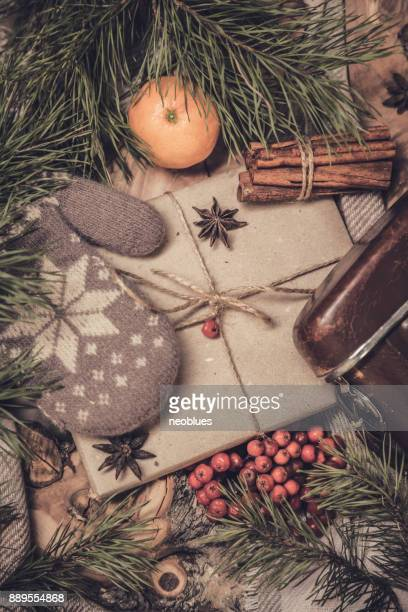 Vue de dessus de Noël chaleureuse et réglage de l'hiver