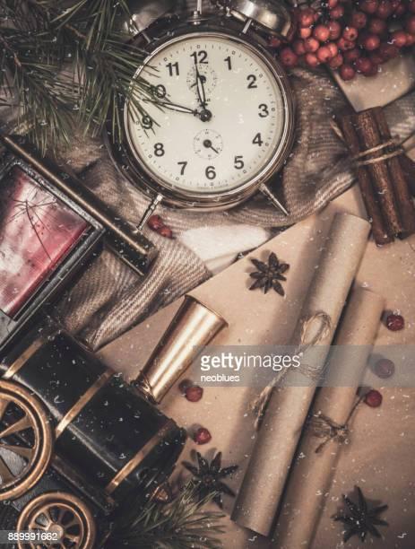 Draufsicht der gemütliche Weihnachten und winter