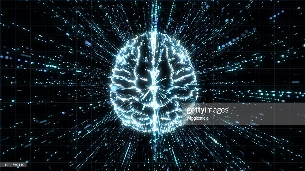Top view of digital brain in lines of streaming data : Stock Photo