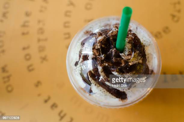 Top view of frappe, milk, chocolate or coffee drink