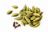 Top View of Fresh Green Cardamom On White Background
