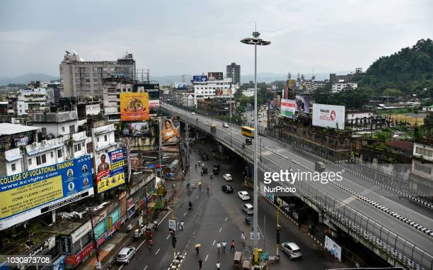 A top view of Ganeshguri area during Bharat Bandh strike called by Congress and other parties against fuel price hike and depreciation of the rupee...