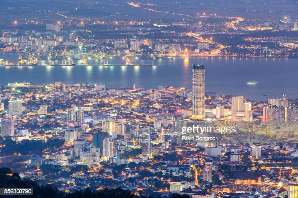 top view of georgetown, capital of penang island, malaysia from top of penang hill. - george town penang stock photos and pictures
