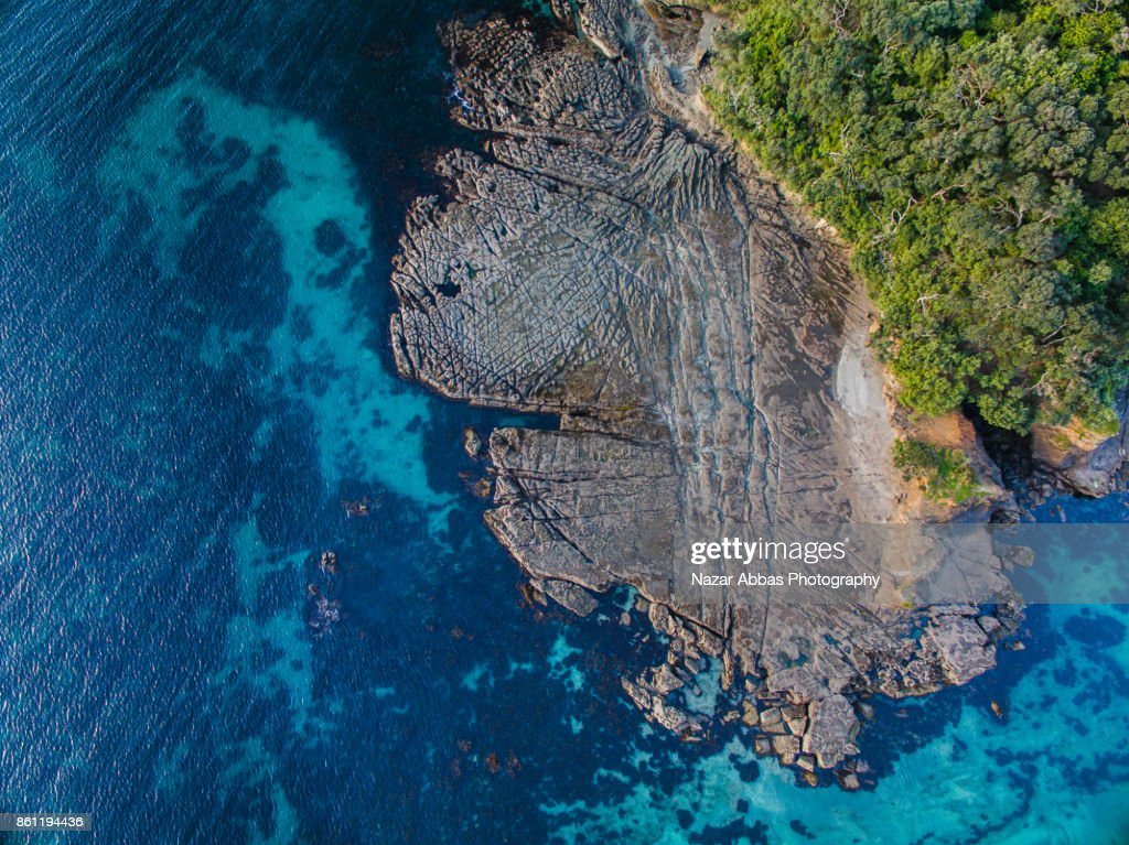 Top view of Goat Island, New Zealand. : Stock Photo