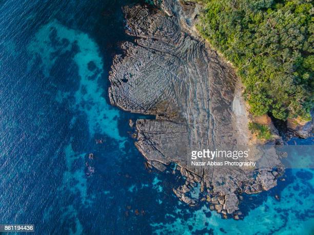 Top view of Goat Island, New Zealand.