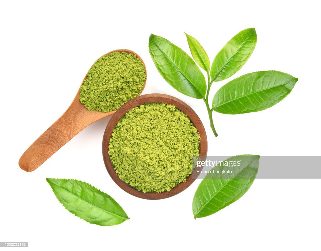 Top view of green tea leaf isolated on white background : Stock Photo