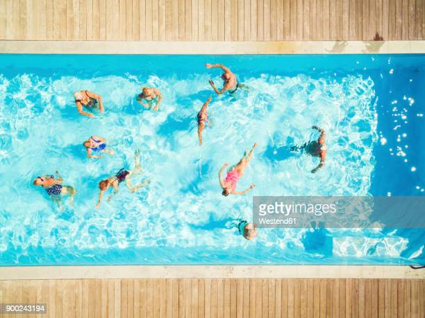 Top view of group of seniors in swimming pool