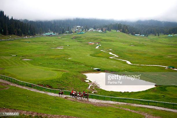 top view of gulmarg after rain - kashmir valley stock photos and pictures