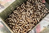 Top view of gun ammunition box. Bullets for pistol