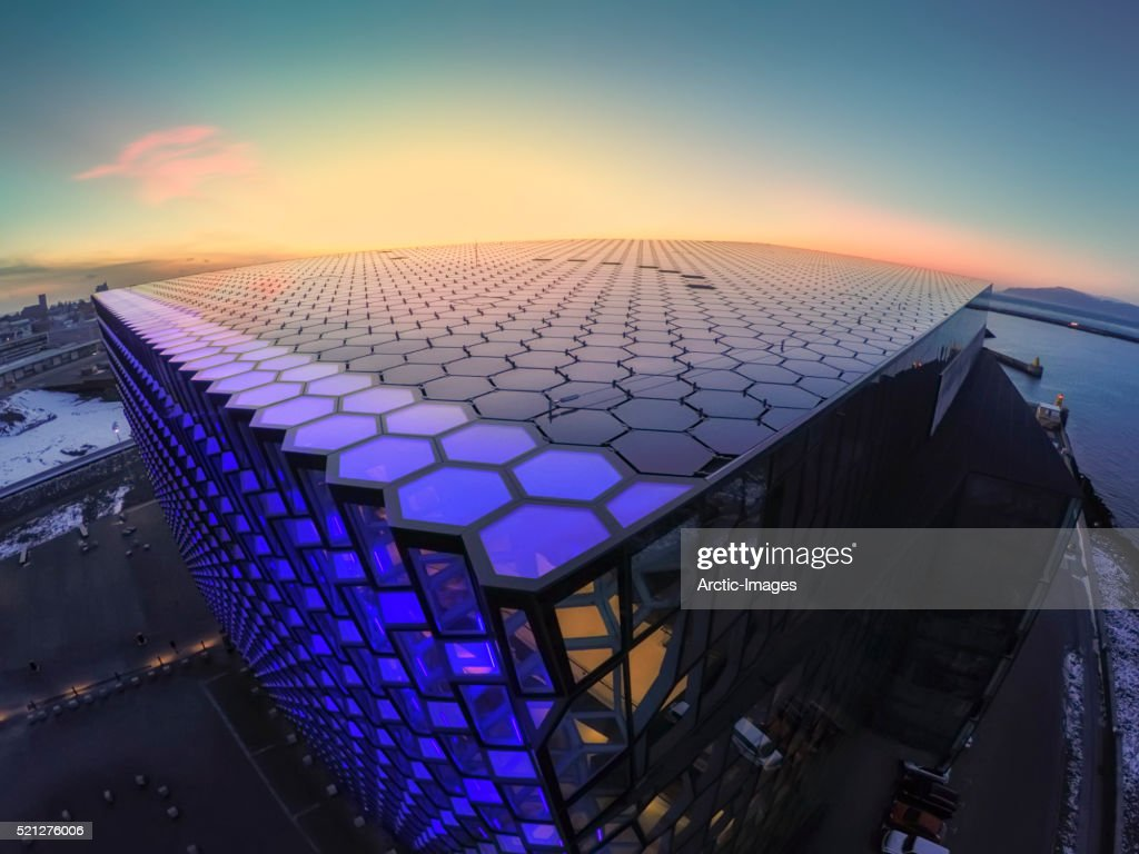 Image shot with a drone,Harpa Concert and Convention Center, Reykjavik, Iceland