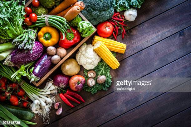 top view of healthy vegetables in a wooden crate - leaf vegetable stock pictures, royalty-free photos & images