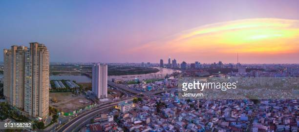 top view of ho chi minh city view from thu thiem with saigon pearl building - thiem stock-fotos und bilder