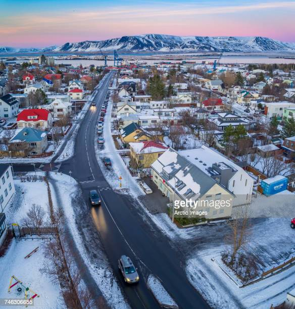 Top view of homes, and roads in the winter, Reykjavik, Iceland. This image is shot with a drone.