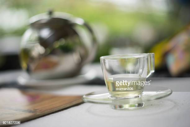 top view of Hot tea with white background