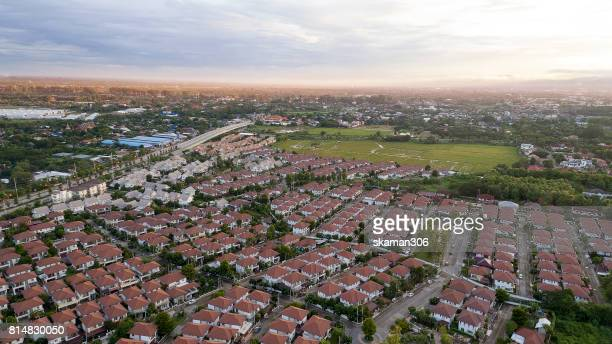Top view of house Village from Drone capture in the air house is Brown roof top