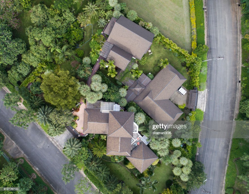 Top view of house Village from Drone capture in the air house is darken roof top : Stock Photo