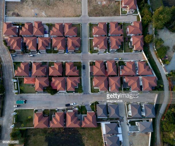 top view of house village from drone capture in the air house is darken roof top - top foto e immagini stock