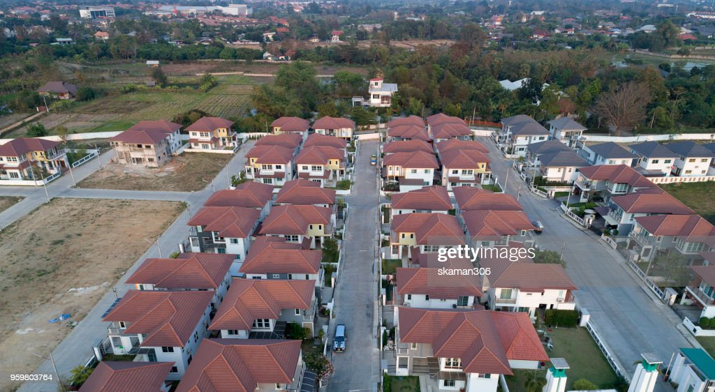 Top view of house Village from Drone capture in the air house is darken roof top : Stock-Foto