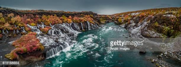 Top view of Hraunfossar waterfalls, Iceland