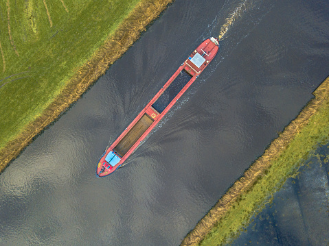 Top view of inland cargo ship 1081151958