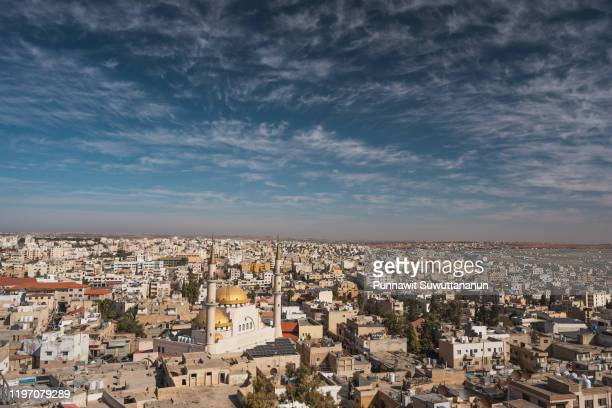 top view of madaba, city of mosaic in jordan in cloudy day, jordan, arab - amman stock pictures, royalty-free photos & images